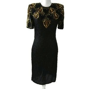 100% Silk Black Gold Beaded Sequins Dress Small